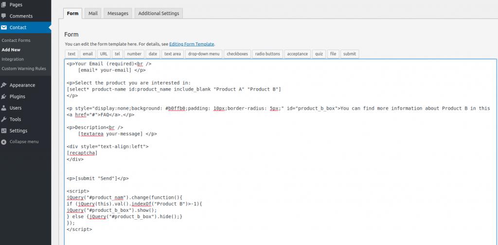 Contact form 7 custom javascript - editor side